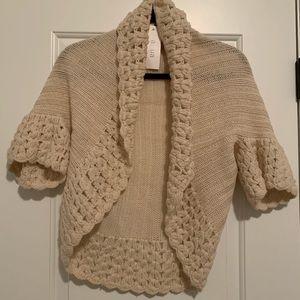 Aqua cream knit shawl